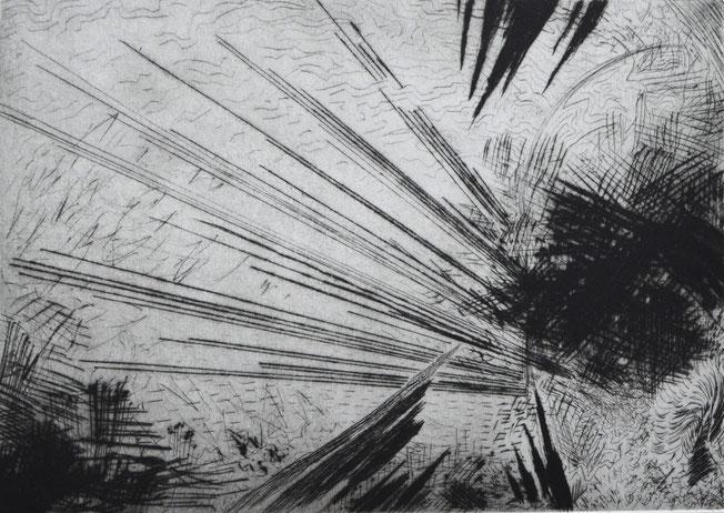 Verstrahlen. 38 x 58 cm. Engraving print on paper. 2018.