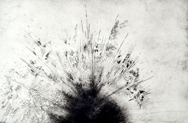 Entflogen. 40 x 60 cm. Engraving print on paper. 2018