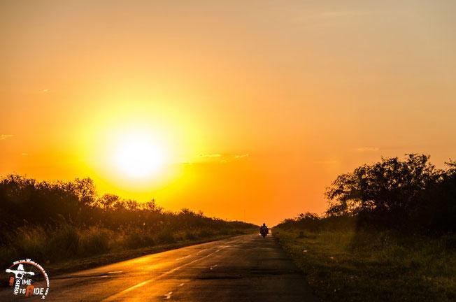 Paraguay - Motorrad - Reise - Worldtrip - Motorcycle - Südamerika - South america - Bea auf dem Weg in den Sonnenuntergang am Trans Chaco Highway