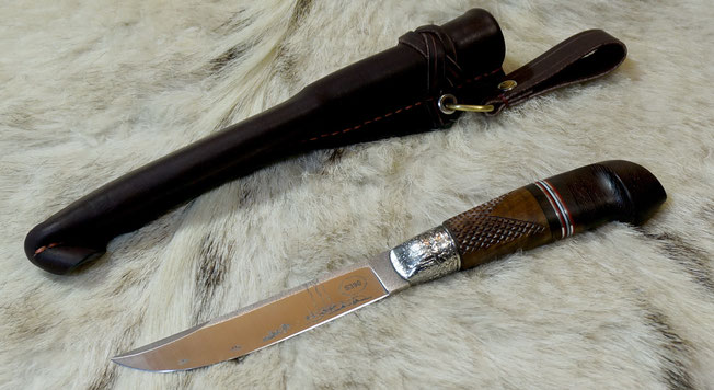 Finnish knife in silver, author's work, knife for hunting.