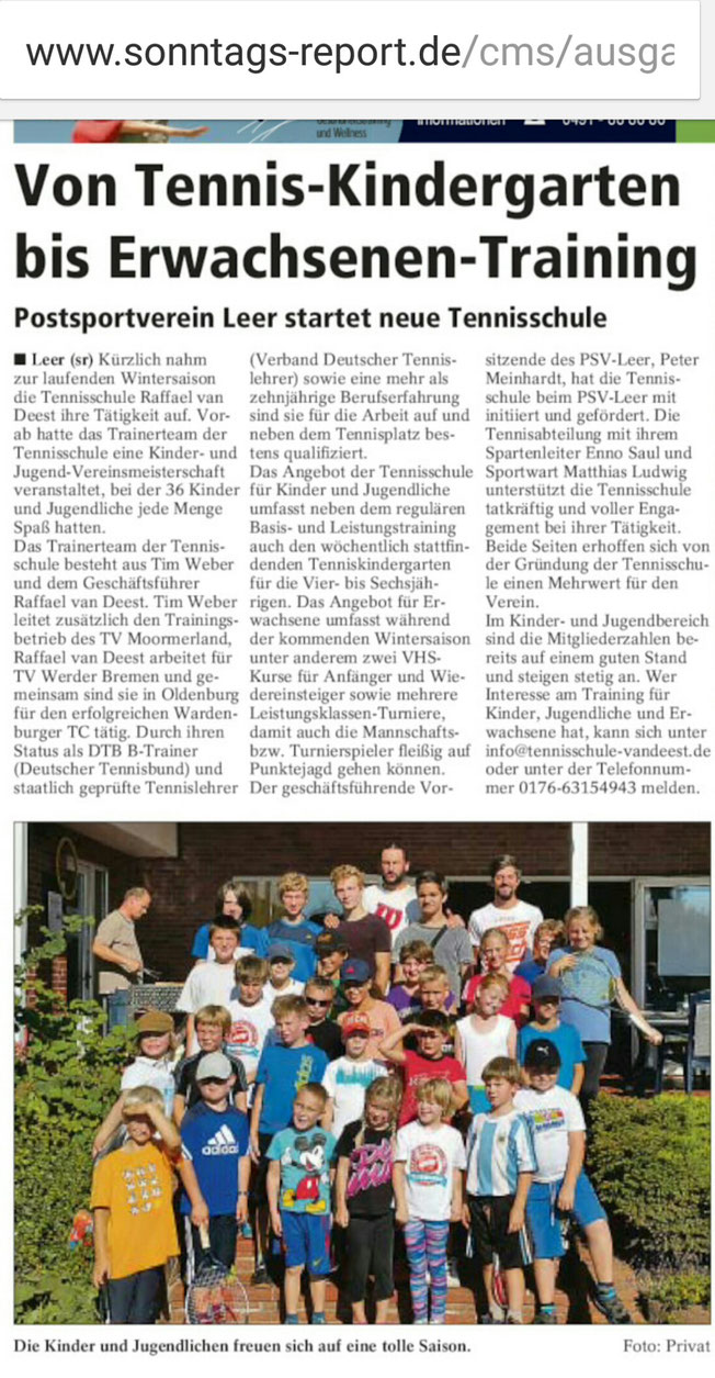 Tennisschule Raffael van Deest Presse Sonntags Report Eröffnung Tennisschule beim Postsportverein Leer