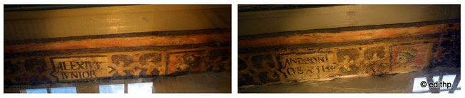 umgedrehte Deckenbalken im Fußboden des 1. Obergeschosses