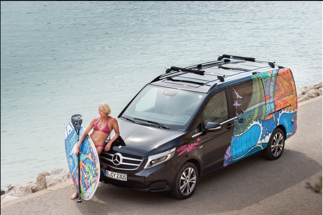 travelling Europe with a V- class Van, powered by Mercedes. Mercedes also put my art design on