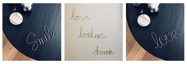 décoration murale, déco murale, mot déco murale, déco murale mots en métal, déco murale bonheur, bonheur déco, bonheur décoration, love, love déco