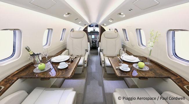 The Piaggio Avanti EVO's spacious cabin