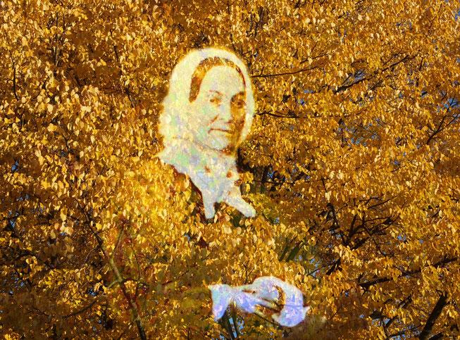 Charlotte Nourney im Herbstlaub (Fotomontage H. Kuhlen)