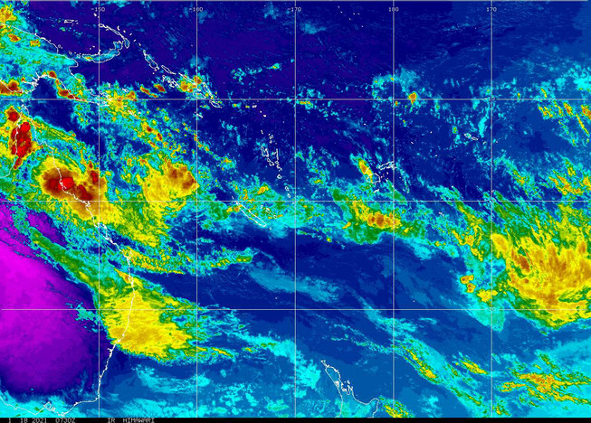 Colourised satellite image of Tropical Cyclone Kimi 18/01/2021, image from NOAA.