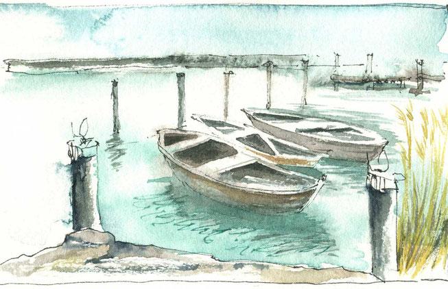 Malreise, Aquarell malen lernen, urban sketching, Wasser malen, Boote malen, youdesignme, Aquarell, plein air Malerei