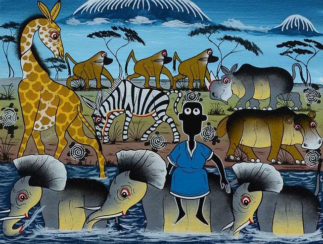 Gemalt von Cosmas Modest Ngambe aus Dar es Salaam, Tanzania (Ölfarbe auf Leinwand)