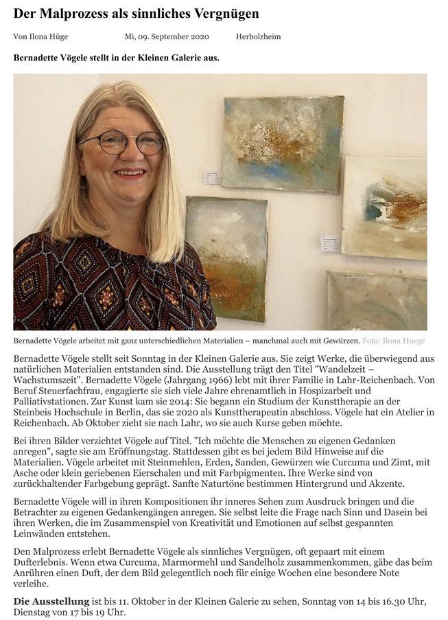 Badische Zeitung Kunst Ausstellung Kleine Galerie Herbolzheim Bernadette Vögele Atelier