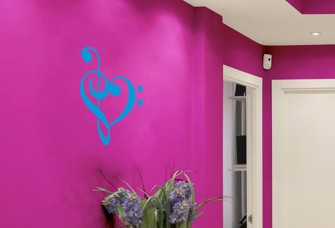 Clef Heart vinyl wall art sticker from www.wallartcompany.co.uk