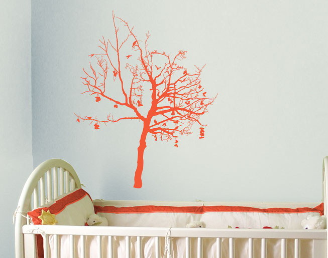 Option 4 Wish Tree, orange detailed tree with lots of branches, boots and birds on a white wall in a children's bedroom nursery.