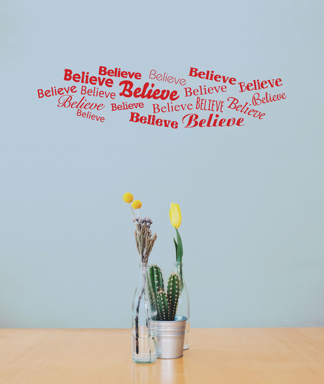 Collage Word cloud believe wall art decal, this design comes in many colours and different sizes at www.wallartcompany.co.uk