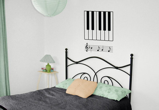 Piano Octave and notes vinyl wall art decal for a music themed home decorating. DIY sticker is from www.wallartcompany.co.uk