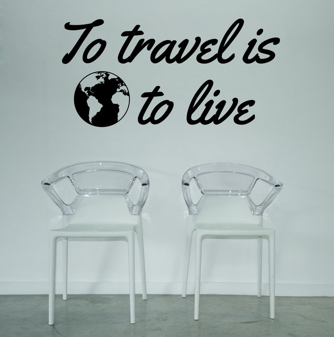 To travel is to live vinyl wall art quote with golbe from www.wallartcompany.co.uk