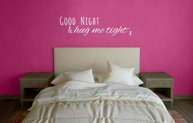 Good night and hug me tight vinyl wall art decal for bedroom decorating. From wallartcompany.co.uk