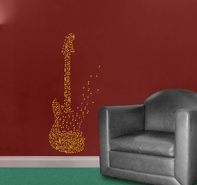 Guitar of notes vinyl wall art sticker. Fender guitar made of individual notes and music symbols from www.wallartcompany.co.uk
