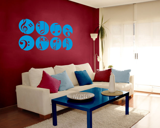 Set of 8 musical circles with symbols and notes within the circles. Wall art decal for enhancing your living room. From www.wallartcompany.co.uk