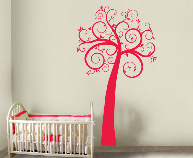 Curly tree vinyl wall art decal with wonderful swirling branches and leaves, it comes with little butterflies for home decorating. Make your décor beautiful. From www.wallartcompany.co.uk