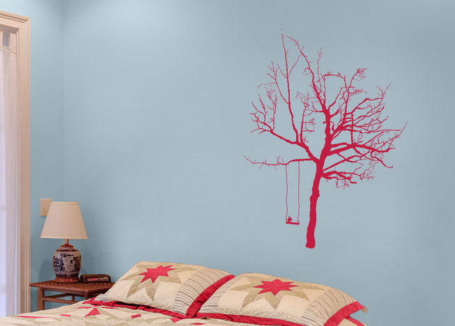 Option 6 Wish Tree, Magenta detailed tree with a swing and a squirrel in a light blue bedroom.