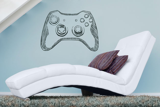 This wall art Hand drawn xbox game controller great for boy's bedrooms. From www.wallartcompany.co.uk