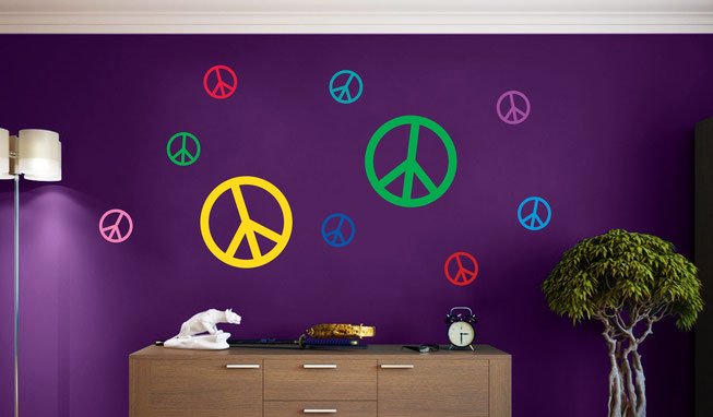 Peace signs vinyl Wall art decals from www.wallartcompany.co.uk