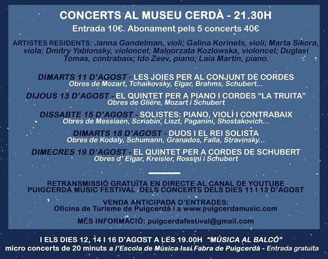Puigcerdà Music Festival - 2020 - Agenda