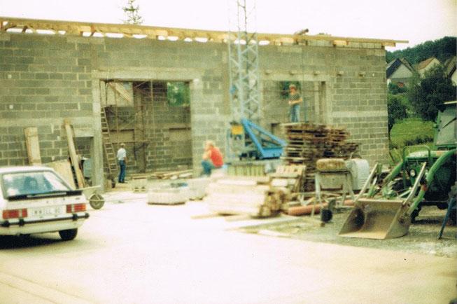 Bau der zweiten Halle im Sommer 1986