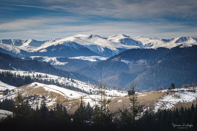 Краєвид на Чорногірський хребет. Пішохідний маршрут у Верховині