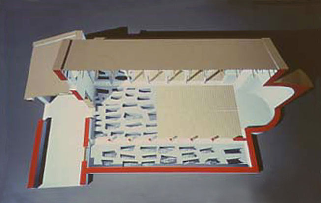 Spaccato della chiesa funeraria (B), con le tombe disposte lungo le tre navate [dal sito web dell'area di archeologia del Dipartimento di Scienze Umane dell'Università di Foggia; www.archeologia.unifg.it]