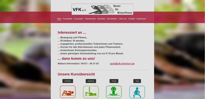 VFK Elmshorn, hier habe ich eine bestehende Seite zur Bearbeitung übernommen und werde mich künftig um die Datenpflege kümmern.