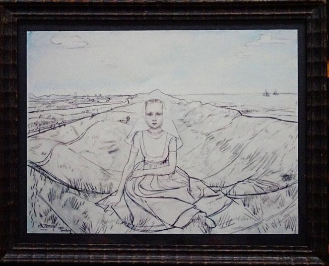 Jan Toorop tekening Zeeuws meisje Domburg