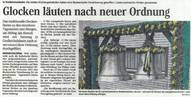 Neue, ökumenische Läuteordnung Großeicholzheim