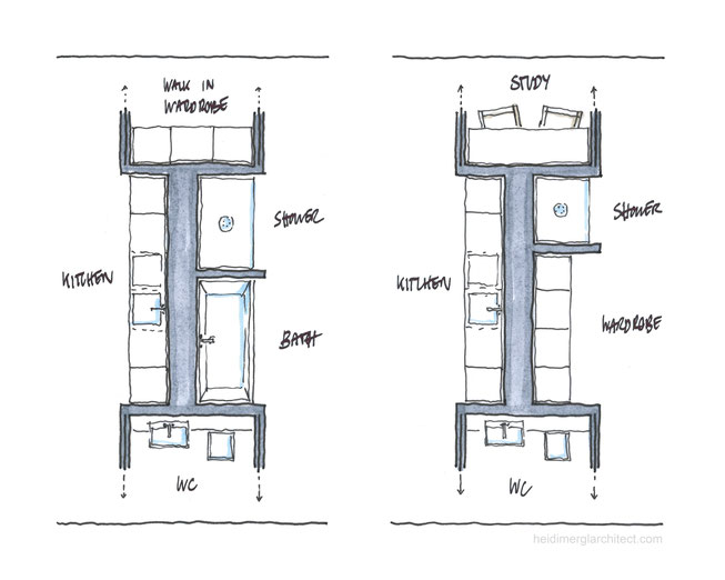 Room Divider Floor Plan Sketch Options by Heidi Mergl Architect