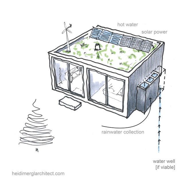Off Grid Small Footprint Home Design by Heidi Mergl Architect