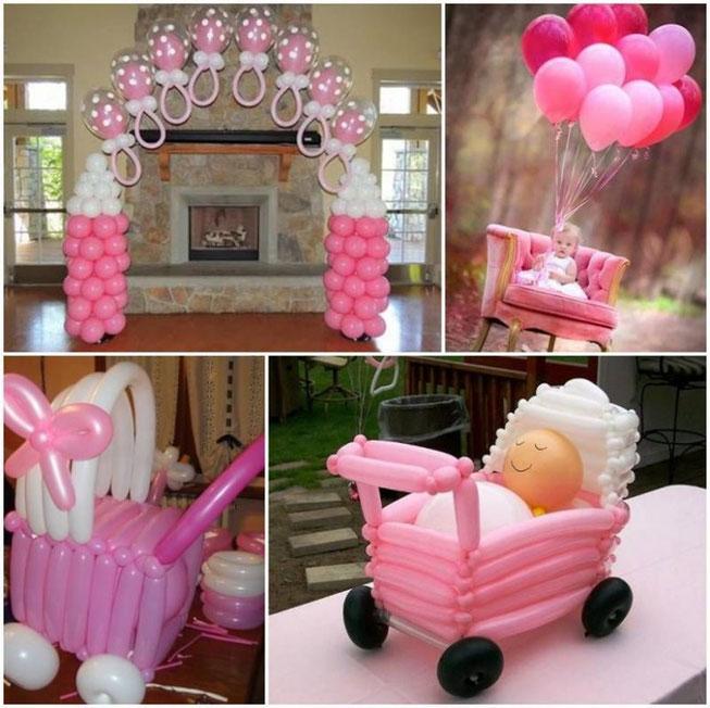 adornos con globos para baby shower