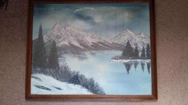 wet on wet oil paint , Bob Ross Style