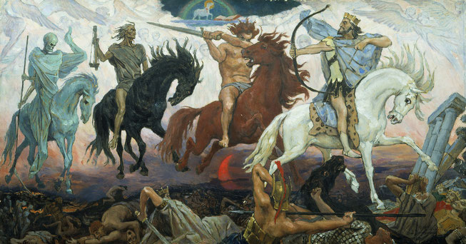 LLa chevauchée des 4 cavaliers de l'Apocalypse suit l'ouverture des 4 premiers sceaux par l'Agneau, Jésus-Christ. Dans l'ordre apparaissent : un cheval blanc préfigurant le Roi de justice, Jésus; un cheval rouge-feu illustrant la guerre et à la violence;