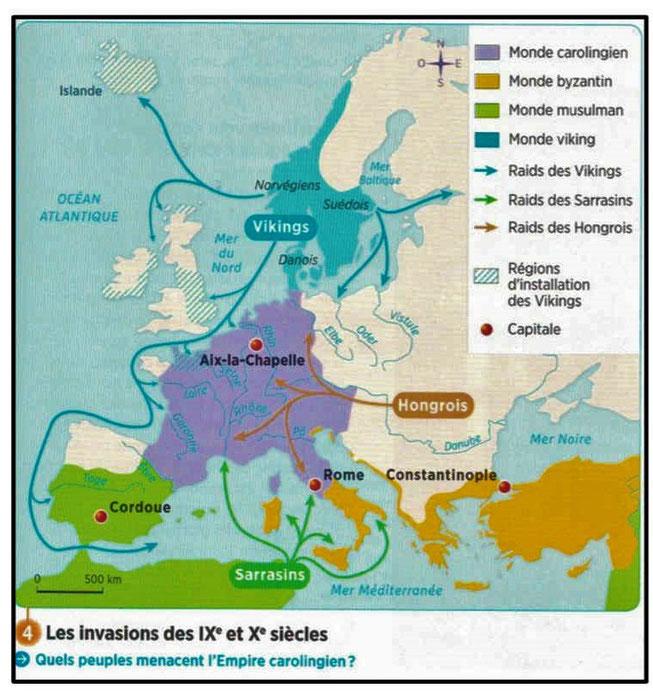 L'empire carolingien est envahie par les Vikings, les Hongrois et les Sarrasins.