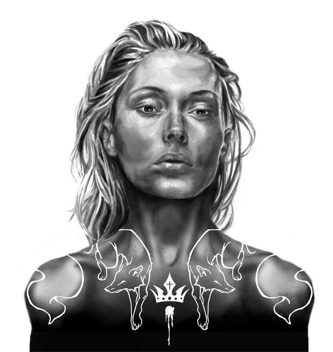 Kreuz Dame mit Fuchs und Kronen Tätowierungen. Digitale Illustration für Pokerkarten von Rumi Benecke