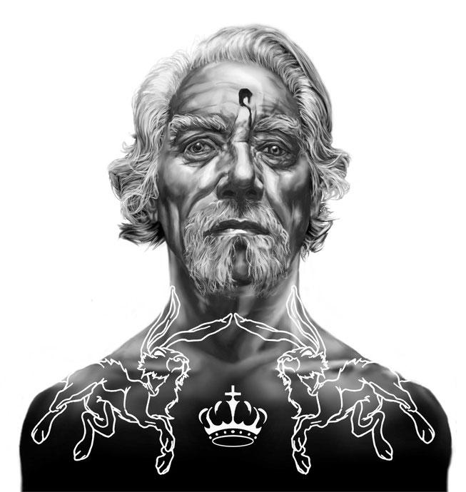 Kreuz König mit  Hasen und Kronen Tätowierungen. Digitale Illustration für Pokerkarten von Rumi Benecke
