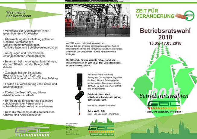 Flyer der GDL-Ortsgruppe Köln zur Betriebsratswahl 2018