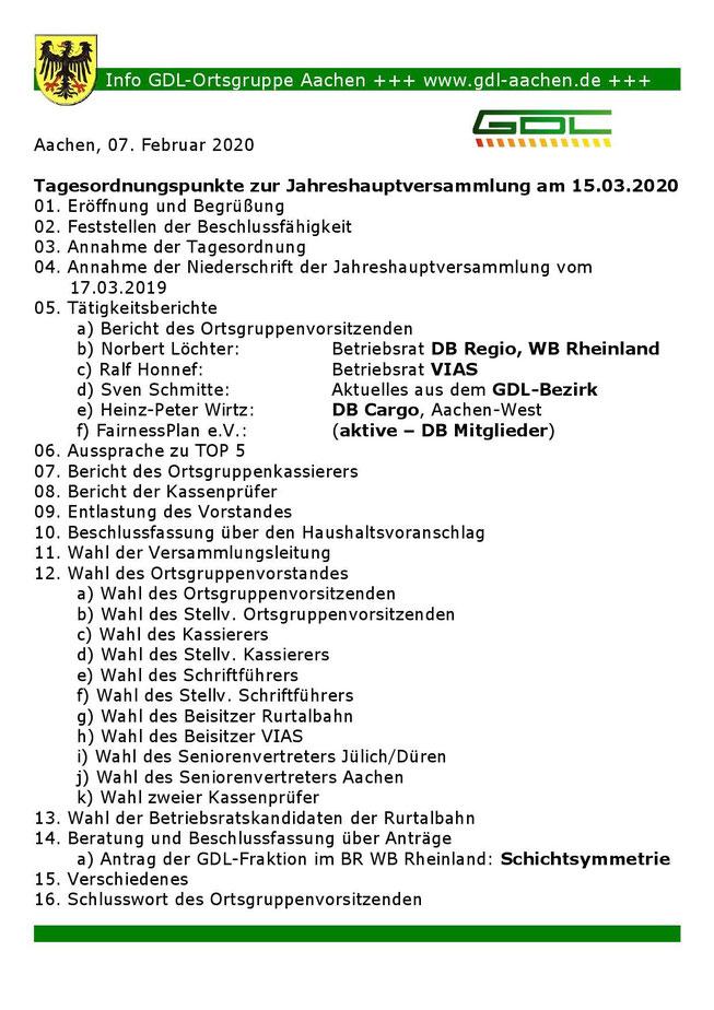 Tagesordnung JHV 2020