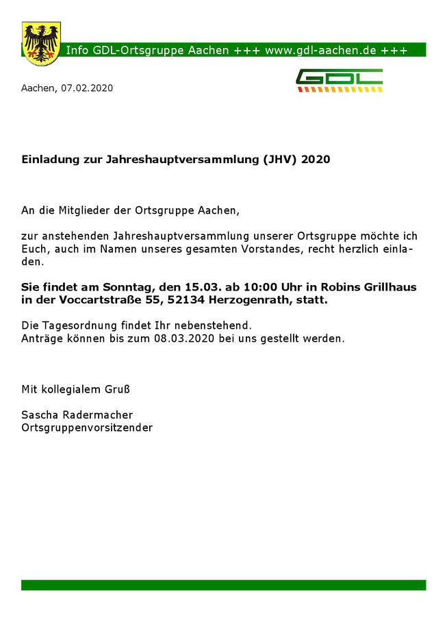 Aushang Einladung JHV 2020