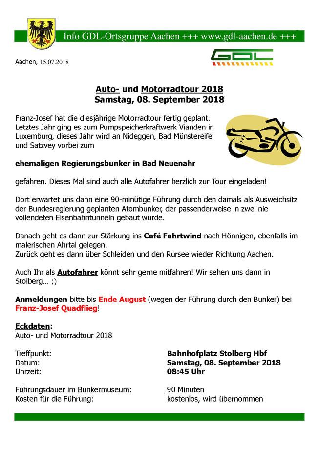 Aushang zur Auto- und Motorradtour 2018
