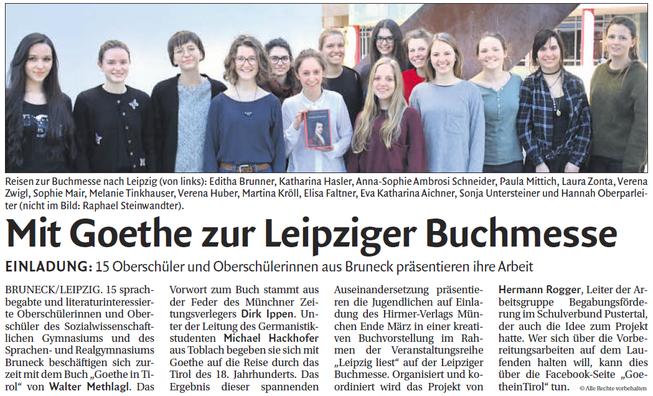 Mit Goethe zur Leipziger Buchmesse, Bericht Tageszeitung Dolomiten 03. März 2017
