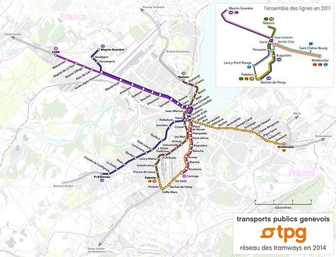 Tram-Streckennetz tpg 2014