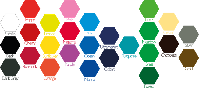 Colours for vinyl sticker options: White, Black, Poppy, Cherry, Burgundy, Lemon, Sunflower, Orange, Pink, Magenta, Purple, Sky, Ocean, Marina, Ultramarine, Cobalt, Turquoise, Lime, Meadow, Grass, Forest, Cream, Chocolate, Silver & Gold.
