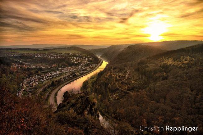 Sonnenuntergang über Saarhölzbach (Mit freundlicher Genehmigung von Christian Repplinger)