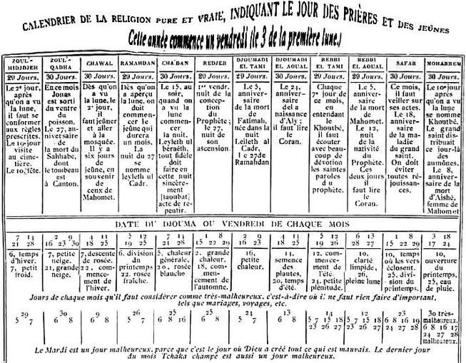 Philibert DABRY de THIERSANT (1826-1898) : Le mahométisme en Chine et dans le Turkestan oriental. Leroux, Paris, 1878. Calendrier musulman vendu à Canton.